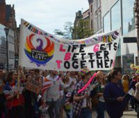The University of Lincoln's LGBT community were amongst those who took part in the parade. Photo: Max Norstrom