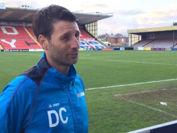 Danny Cowley speaking after the match. Photo: Ryan Petterson