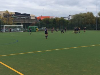 The University of Lincoln women's hockey team are warming up.