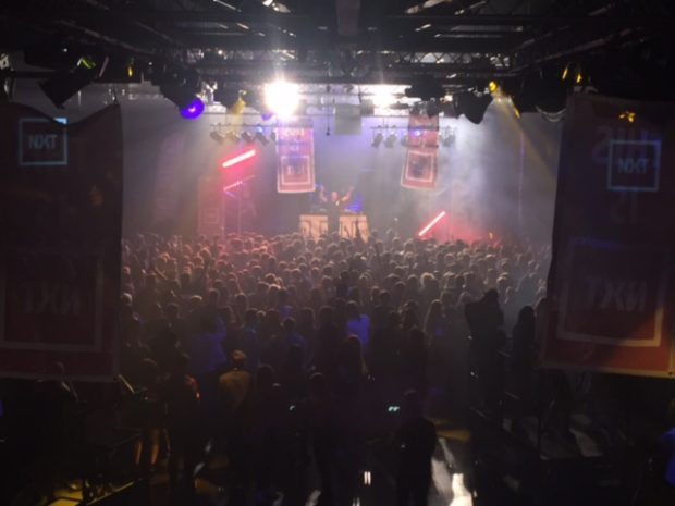 View of the stage at the NXT launch night with Lethal Bizzle.