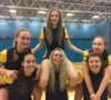 University of Lincoln Women's Badminton team celebrate their victory