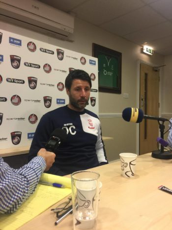Danny Cowley talking at his press conference ahead of Tranmere. Photo: Danyal Khan