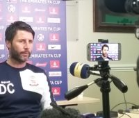 Imps boss Danny Cowley at his press conference on Friday ahead of tonight's match (Photo Credit: James Williams)