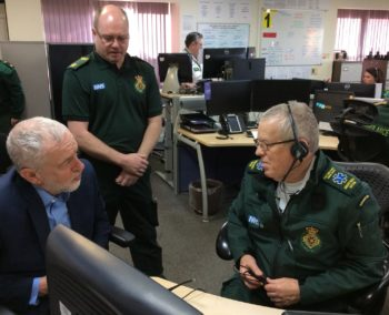 Jeremy Corbyn with ambulance staff